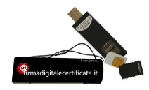 Il TOKEN � una penna USB che contiene il certificato di firma, il software per firmare documenti e spazio di memoria aggiuntivo. Comoda e sempre pronta all'utilizzo.